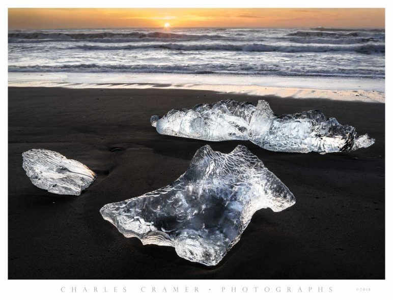 Backlit  Icebergs, Sunrise,  Iceland