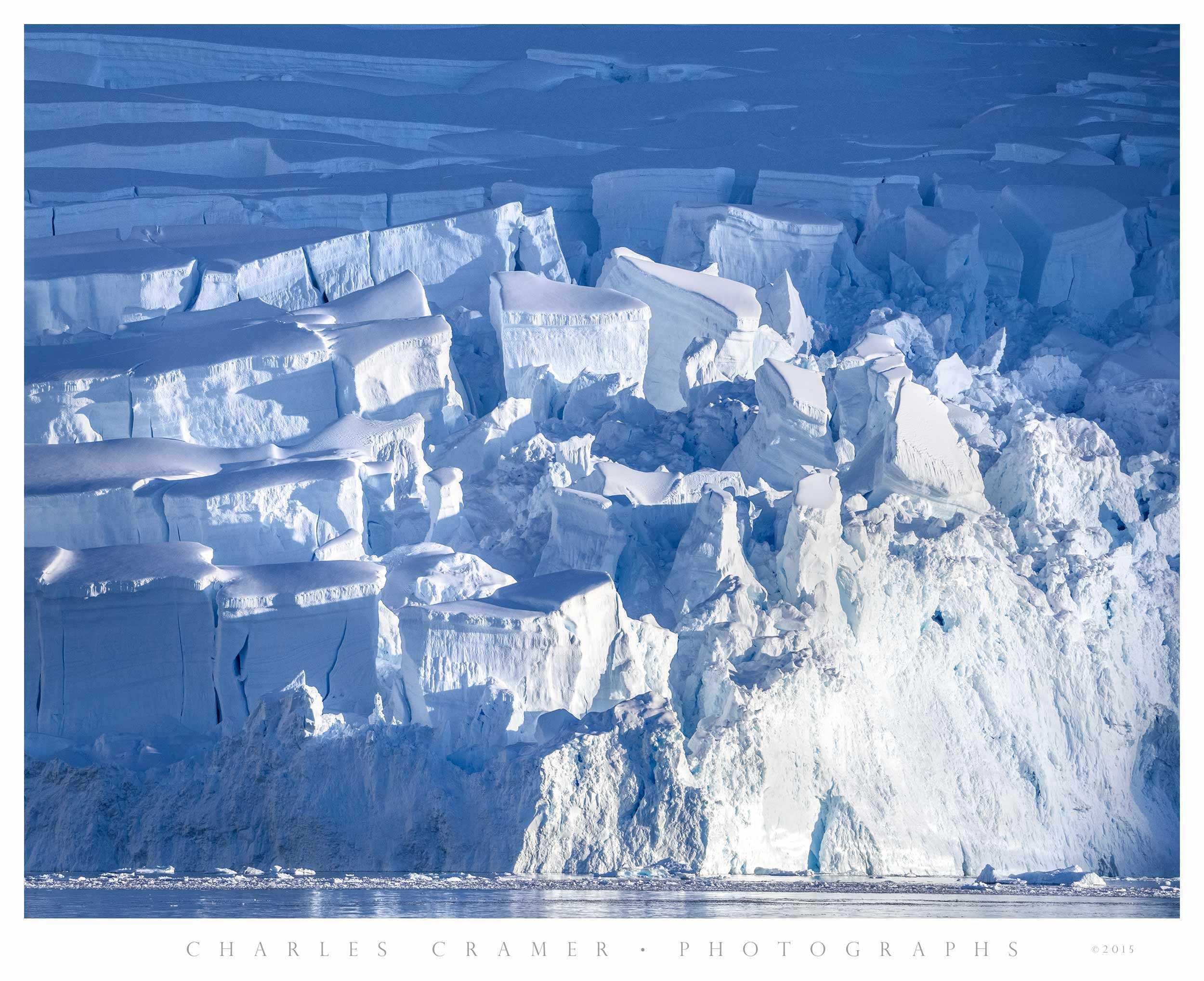 Sunrise on Glacier Crevasses, Antarctic Peninsula